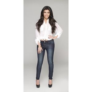 Kourtney Kardashian Studded Slim Stretch Jeans